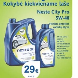 Akcija - Neste City Pro 5W-40 4+1L el.pastu