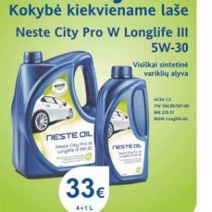 Akcija - Neste City Pro W Longlife 5W-30 4+1L el.pastu